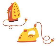 ensemble de fer à repasser pour tissu. un fer ordinaire avec une douille et un fer debout. ustensile électrique. appareil pour repasser les vêtements. tâches ménagères et tâches ménagères, hygiène, travaux ménagers. illustration vectorielle. vecteur