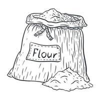 sac de jute avec dessin au trait de farine vecteur
