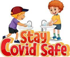 rester covid safe police dans un style dessin animé avec des enfants se lavant les mains par un évier d'eau isolé sur fond blanc vecteur