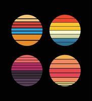 collection de couchers de soleil rétro dans le style des années 80-90. abstrait avec un dégradé ensoleillé. couleurs vives. modèle de conception pour le logo, les icônes, les bannières, les impressions. vecteur