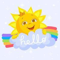 bonjour concept de personnage de soleil d'été vecteur