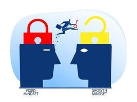 homme d'affaires détenant la clé avec le passage de l'état d'esprit fixe à l'illustrateur de vecteur de concept de pensée de croissance.