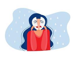 masques du syndrome de l'imposteur avec des expressions heureuses ou tristes trouble bipolaire faux visages et émotions psychologie faux comportement ou trompeur.vector illustrateur vecteur