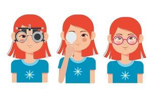 bilan de vision des enfants en clinique ophtalmologique. optométriste vérifiant la vue des enfants avec des lunettes équipement médical. sélection de verres de lunettes. personnage de dessin animé plat fille vecteur