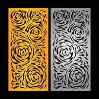 modèle de découpe laser et cnc, motif de couleur dorée et fond de couleur noire vecteur
