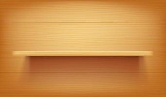 longue étagère en bois sur un mur en bois vecteur