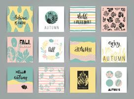 Jeu de cartes automne créatif artistique. vecteur