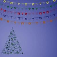 guirlande de carnaval avec fanions. drapeaux de fête colorés décoratifs pour la célébration de noël, le festival et la décoration de foire. vecteur