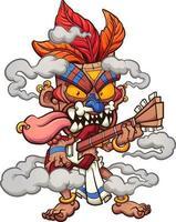 masque tiki jouant de la guitare vecteur