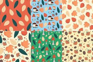 ensemble de motifs harmonieux avec des éléments d'automne, des feuilles jaunes, des champignons et des baies dans un style plat, des arrière-plans vectoriels harmonieux vecteur