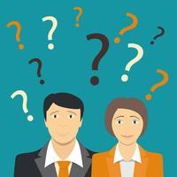 l'homme d'affaires et la femme d'affaires ne savent pas quoi faire, concept d'entreprise vecteur