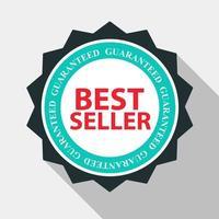 Le label de qualité du meilleur vendeur signe dans un design plat et moderne avec une longue ombre. illustration vectorielle vecteur