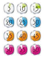 minutes de désignation de la montre en argent. illustration vectorielle vecteur
