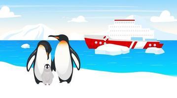 illustration vectorielle plane de la faune antarctique. manchots empereurs. famille d'oiseaux marins incapables de voler. paysage de neige d'hiver. bateau dans l'océan. navire en mer sur fond. personnages de dessins animés d'animaux de l'Arctique vecteur