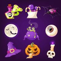 jeu de vecteurs de dessin animé décoration halloween. objets fantasmagoriques et effrayants réalistes isolés sur violet. potion magique, friandises, araignée, autocollants citrouille. chapeau de sorcière, oeil, crâne et lune. cliparts plats de décor d'horreur vecteur