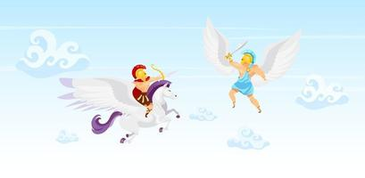 combattants dans l'illustration vectorielle plane du ciel. bataille de guerriers. homme volant sur pégase. icarus avec des ailes. les héros se battent dans les airs. créatures fantastiques. mythologie grecque. personnages de dessins animés de gladiateurs vecteur