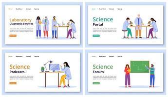 ensemble de modèles vectoriels de page de destination des services scientifiques. idée d'interface de site Web de technologie d'apprentissage moderne avec des illustrations plates. mise en page de la page d'accueil des forums et des portails, bannière Web, concept de dessin animé de page Web vecteur