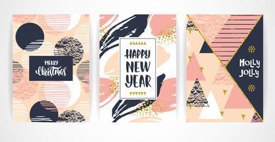 Jeu de cartes créatives artistiques joyeux Noël et nouvel an. vecteur