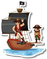un modèle d'autocollant avec des pirates sur le navire isolé vecteur