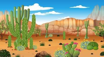 paysage de forêt désertique à la scène de jour avec de nombreux cactus vecteur
