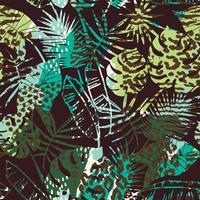 Tendance motif exotique sans soudure avec paume, imprimés animaliers et textures dessinées à la main. vecteur