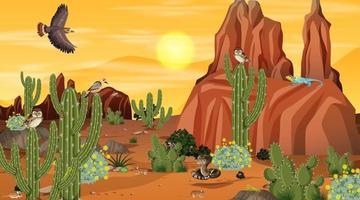 paysage de forêt désertique au coucher du soleil avec des animaux et des plantes du désert vecteur