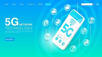 Concept de technologie sans fil de réseau 5g. Internet haut débit. modèle de page de destination. vecteur eps 10
