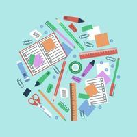 papeterie dans une composition de cercle pour les articles scolaires vecteur