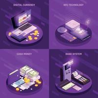 Méthodes de paiement concept design isométrique vector illustration