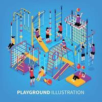 Aire de jeux pour enfants fond isométrique vector illustration