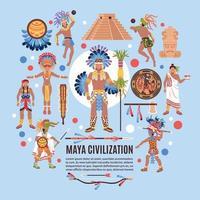 illustration vectorielle de civilisation maya fond plat vecteur