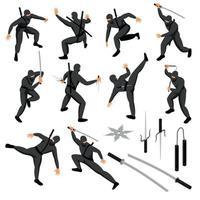 Illustration vectorielle de collection d'icônes ninja isométrique vecteur