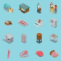 Illustration vectorielle de collection d'icônes de boucherie isométrique vecteur