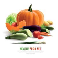 illustration vectorielle de légumes composition réaliste vecteur