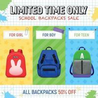 sacs à dos scolaires vente fond illustration vectorielle vecteur