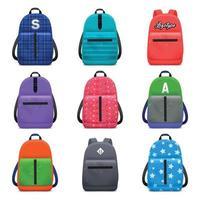 sacs à dos scolaires réalistes mis en illustration vectorielle vecteur