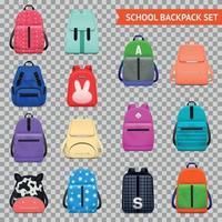 illustration vectorielle de sacs à dos scolaires collection transparente vecteur