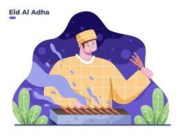 les gens cuisinent des plats traditionnels indonésiens pendant que l'eid al adha est une illustration vectorielle à plat. eid al adha cuisine traditionnelle. peut être utilisé pour une carte de voeux, une bannière, une affiche, un site Web, une invitation, une carte postale, etc. vecteur