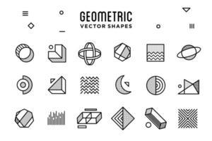 ensemble de collection d'icônes de forme géométrique abstraite néon violet et rose avec éléments de conception, modèle pour votre projet, publicité, bannière commerciale, affiche et animation vecteur