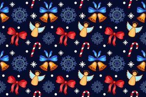 modèle sans couture de Noël. motif textile vectoriel répétitif. design avec des bonbons, des flocons de neige, des anges et des cloches sur fond bleu. pour le textile du nouvel an, couverture, papier d'emballage, conception de bannière
