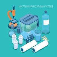 Filtres de purification de l'eau composition isométrique vector illustration