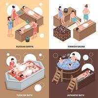 Maisons de bain concept design isométrique vector illustration