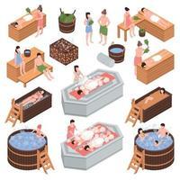 maison de bain isométrique set vector illustration