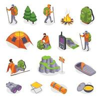 campeurs gear icon set vector illustration