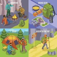 camping, randonnée, conception, concept, vecteur, illustration vecteur