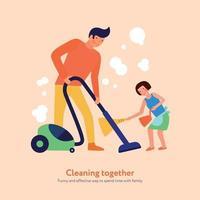père fille, nettoyage, ensemble, illustration, vecteur, illustration vecteur