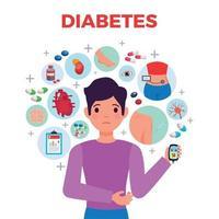 illustration vectorielle de diabète composition affiche vecteur