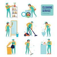 service de nettoyage icons set vector illustration
