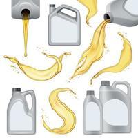 illustration vectorielle de jeu d'icônes d'huile moteur réaliste vecteur