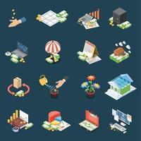 gestion de patrimoine icônes isométriques vector illustration